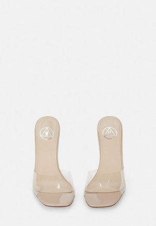 Nude Clear Feature Heel Mules | Missguided