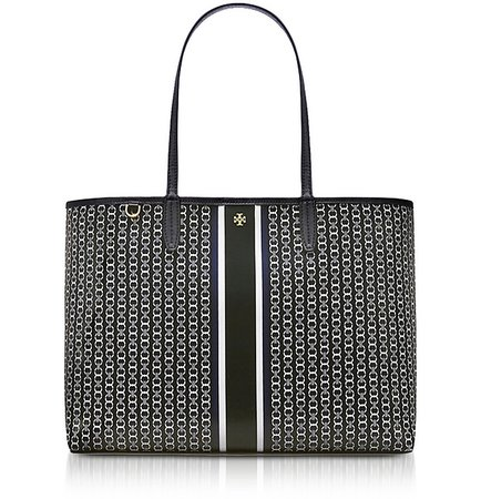 Tory Burch Black Gemini Link Stripe Canvas Tote Bag at FORZIERI