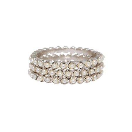 Bezel Pearl Ring Set- Silver | Luv Aj