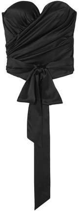 Strapless Draped Stretch-silk Satin Bustier Top
