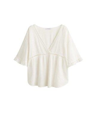 Violeta BY MANGO Openwork detail blouse