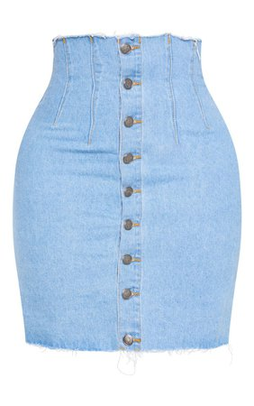 Shape Black Button Front Seam Detail Denim Skirt   PrettyLittleThing USA