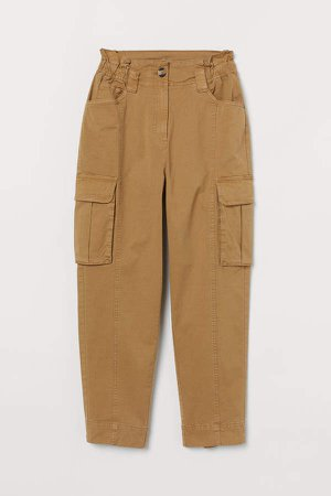 Ankle-length Cargo Pants - Beige