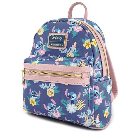 Loungefly x Stitch & Scrump Floral Print Mini Faux Leather Backpack - Display Geek, Inc.