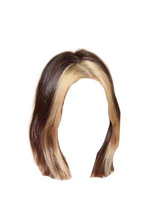 Short Dark Brown Hair PNG Blonde Bangs