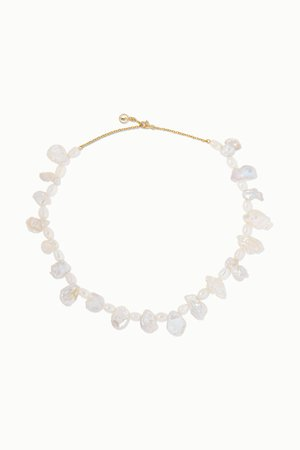 Gold Gold-plated pearl necklace | Anissa Kermiche | NET-A-PORTER