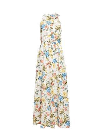 Ivory Tie Neck Maxi Dress | Dorothy Perkins
