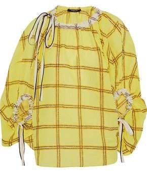 Bow-detailed Embroidered Checked Cotton-gauze Blouse