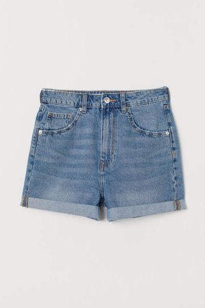 Mom Fit Denim Shorts - Blue