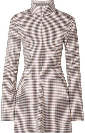Hans Yolo Checked Wool-blend Top - Brown