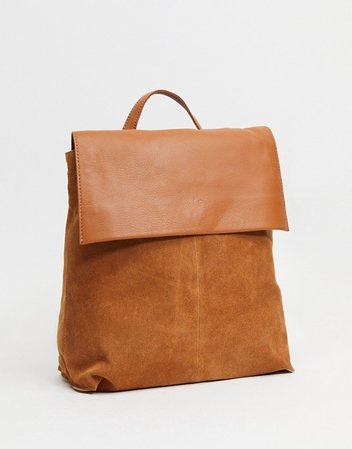 ASOS DESIGN suede backpack with leather flap in tan   ASOS