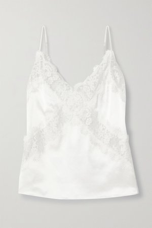 White The Dane lace-paneled silk-charmeuse camisole | Cami NYC | NET-A-PORTER