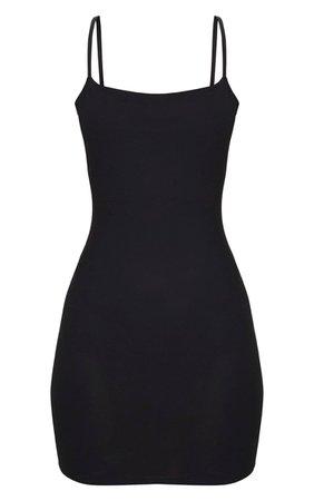 Black Strappy Straight Neck Bodycon Dress   PrettyLittleThing USA