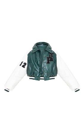 Green Pu Raglan Sleeve Crop Varsity Bomber Jacket   PrettyLittleThing USA