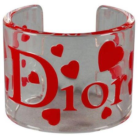 Vintage CHRISTIAN DIOR Logo Heart Lucite Cuff Bracelet