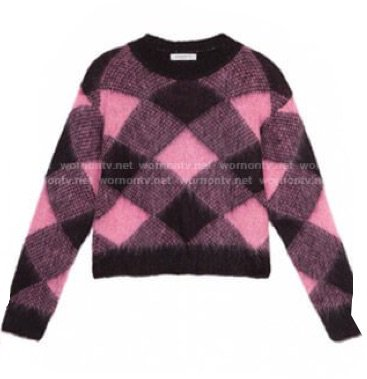 pink/black checkered sweater