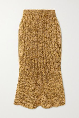Ribbed Wool Skirt - Brown