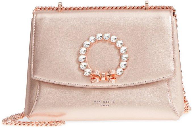 Pearlz Embellished Leather Crossbody Bag