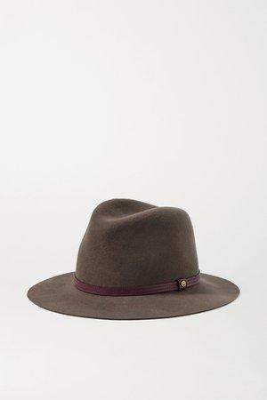 Brown Leather-trimmed wool-felt fedora | rag & bone | NET-A-PORTER