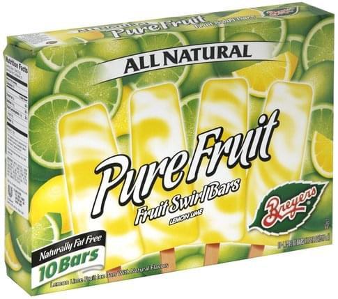 Breyers Lemon Lime Fruit Swirl Bars - 10 ea, Nutrition Information | Innit