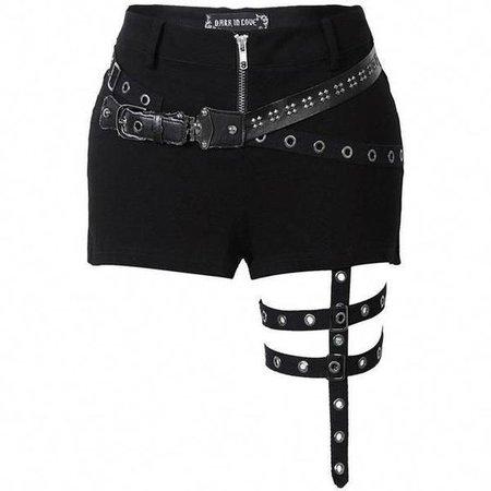 black harness shorts