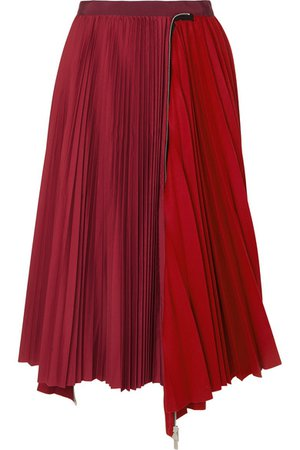 Sacai | Melton pleated wool-blend and satin midi skirt | NET-A-PORTER.COM