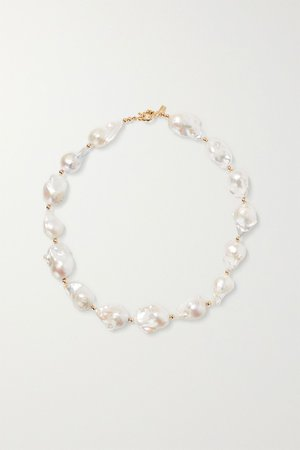 Gold Gold-tone bead and pearl necklace | éliou | NET-A-PORTER