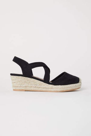Wedge-heel Sandals - Black