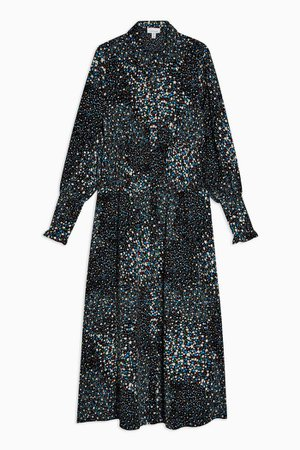 Black Floral Print Ruched Shirt Dress | Topshop