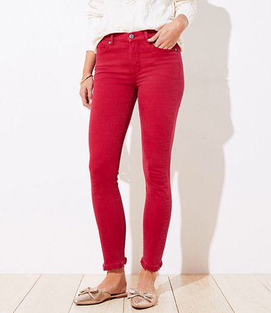 Petite Frayed High Rise Skinny Crop Jeans