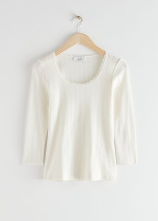 Ribbed Scoop Neck Top - White - Long Sleeve Tops - & Other Stories