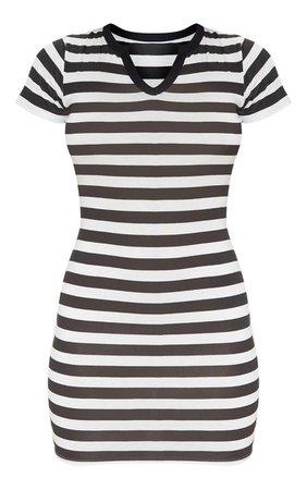 Black Stripe Cut Neck Bodycon Dress   Dresses   PrettyLittleThing