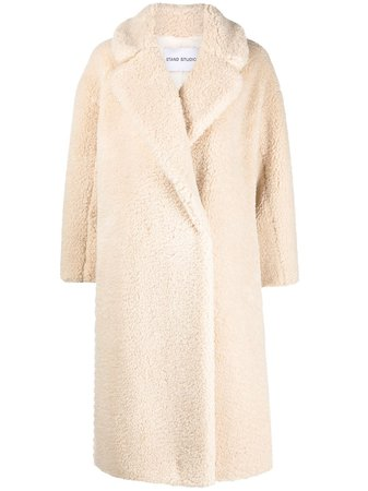 STAND STUDIO notched-lapel shearling coat