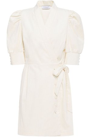 Cream Camille cotton-blend corduroy mini wrap dress | Sale up to 70% off | THE OUTNET | HOFMANN COPENHAGEN | THE OUTNET