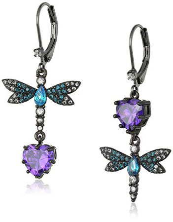 """Betsey Johnson """"Cubic Zirconia Critter"""" Cubic Zirconia and Butterfly Double Mismatch Drop Earring: Jewelry"""