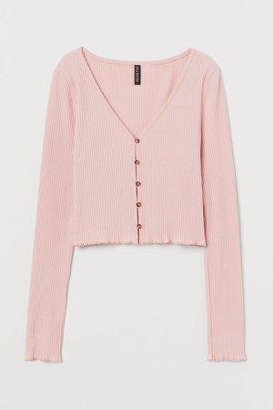 Ribbed Jersey Cardigan - Pink