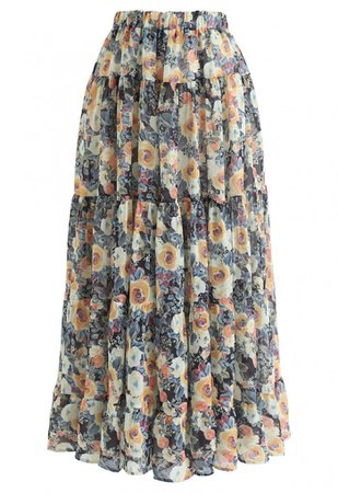 Floral Blossom Watercolor Ruffle Maxi Skirt in Yellow - NEW ARRIVALS - Retro, Indie and Unique Fashion
