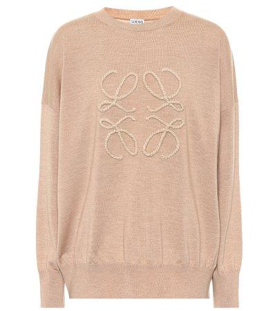 Loewe - Embroidered wool sweater | Mytheresa