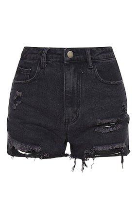 Prettylittlething Washed Black Distressed Shorts | PrettyLittleThing