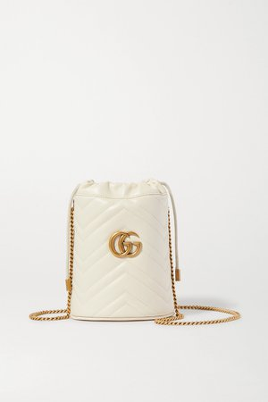 White GG Marmont quilted leather shoulder bag | Gucci | NET-A-PORTER