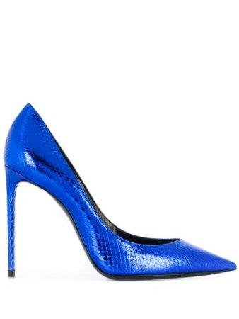 Blue Saint Laurent Zoe metallic pumps 601734EXV00 - Farfetch