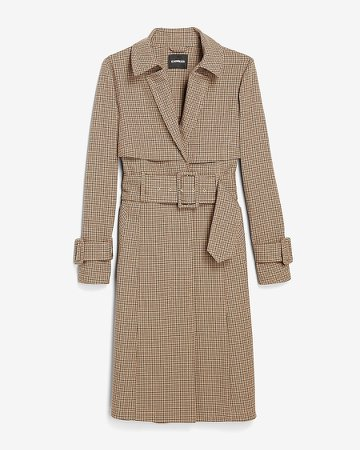 Plaid Belted Trench Coat
