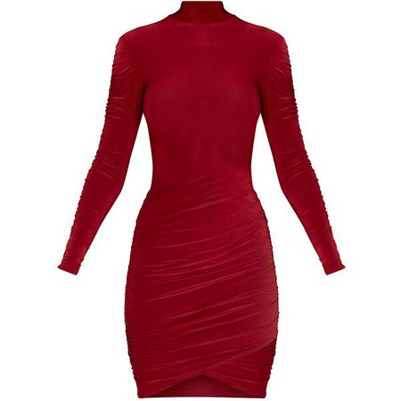 Turtle Neck Long Sleeve Red Bodycon Dress
