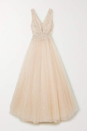 Jeanne Embellished Glittered Tulle Gown - Gold