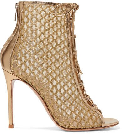 105 Lace-up Lurex, Mesh And Metallic Leather Ankle Boots - Gold