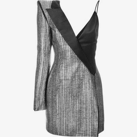 Silver and Black Blazer Dress