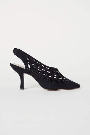 Slingbacks with Heel - Black