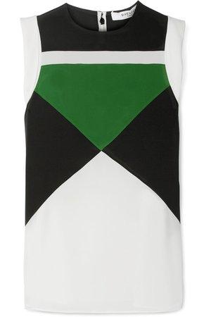 Givenchy | Color-block silk crepe de chine top | NET-A-PORTER.COM