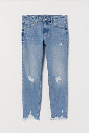 Girlfriend Regular Ankle Jeans - Light denim blue - Ladies | H&M US