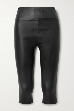 Cropped Leather Leggings - Black